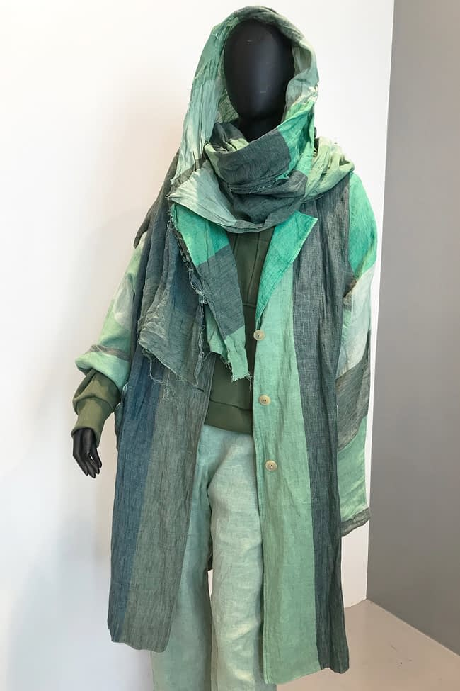 IVAN GRUNDAHL avantgarde GREEN STRIPED OVERSIZED LINEN COAT