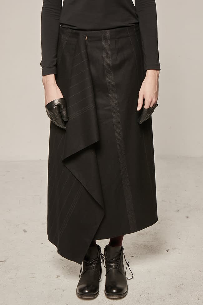 Ivan Grundahl avantgarde asymmetric wool skirt