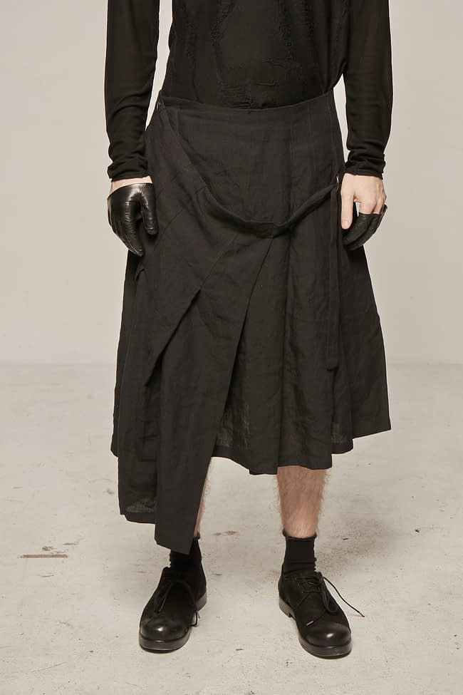 Ivan Grundahl avantgarde pleated linen skirt