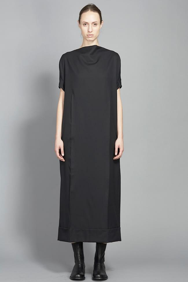 IVAN GRUNDAHL avantgarde black wool suiting dress