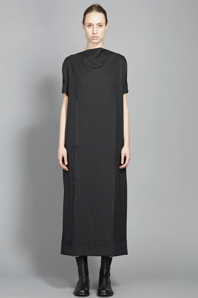 IVAN GRUNDAHL avantgarde black wool suiting dress