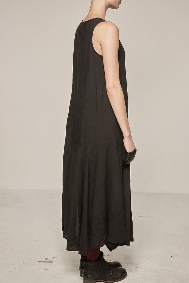 Ivan Grundahl avantgarde asymmetric linen sleeve-less dress