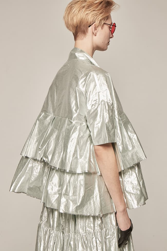 Ivan Grundahl avantgarde oversized silver ruffle blouse