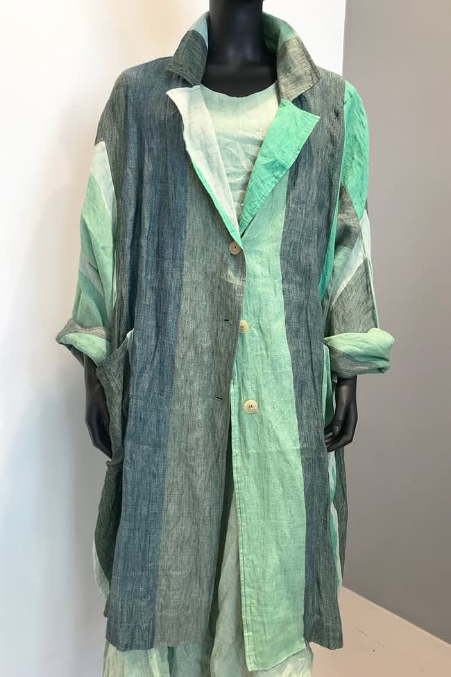 IVAN GRUNDAHL avantgarde GREEN STRIPED OVERSIZED LINEN COAT