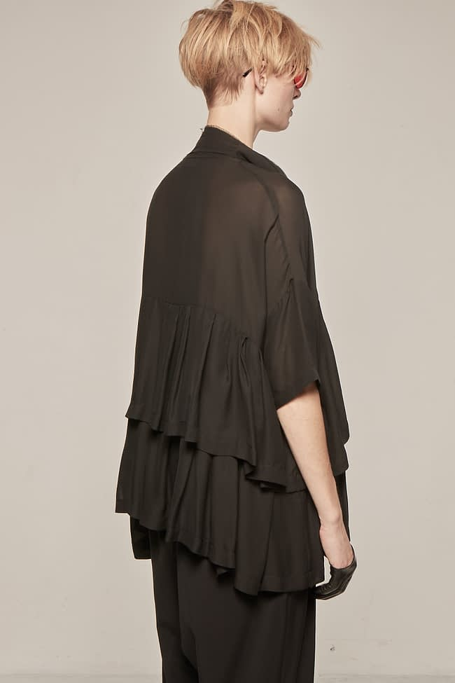 Ivan Grundahl avantgarde oversized silk ruffle blouse