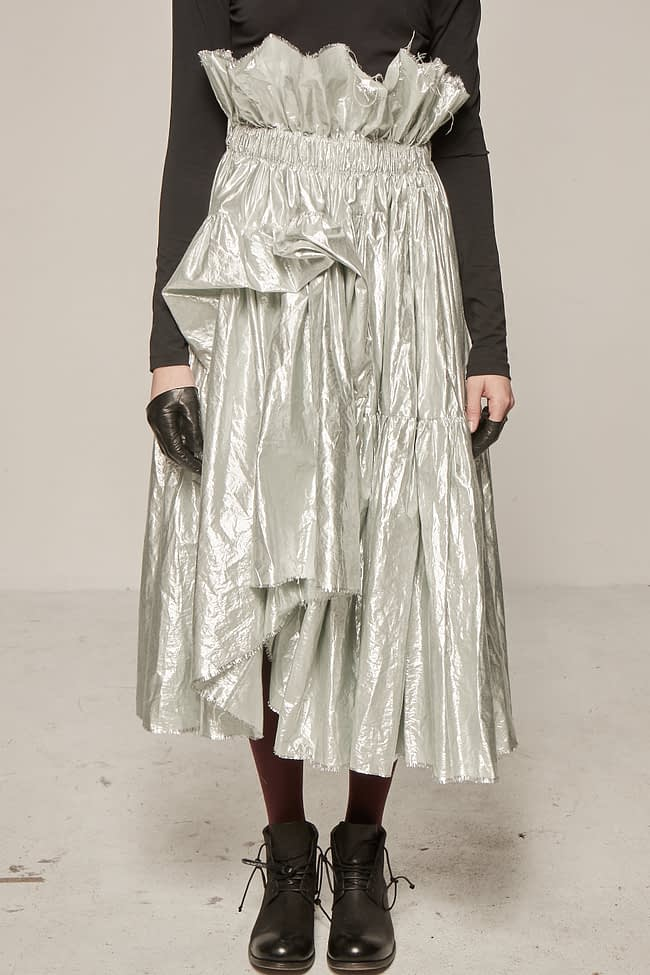 Ivan Grundahl avantgarde silver ruffle skirt